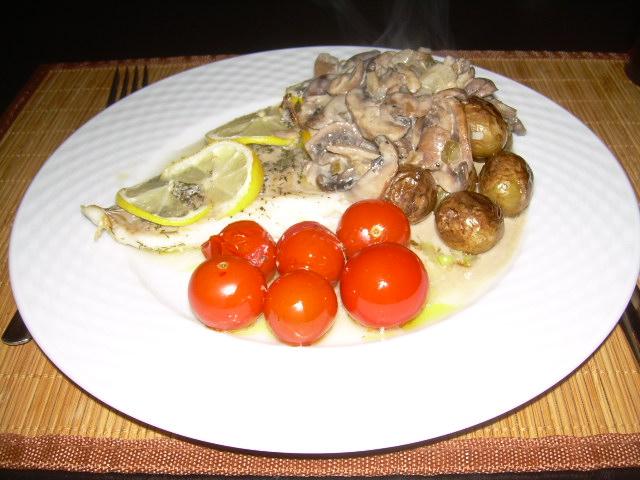 Kabeljauw uit de oven met champignonsaus
