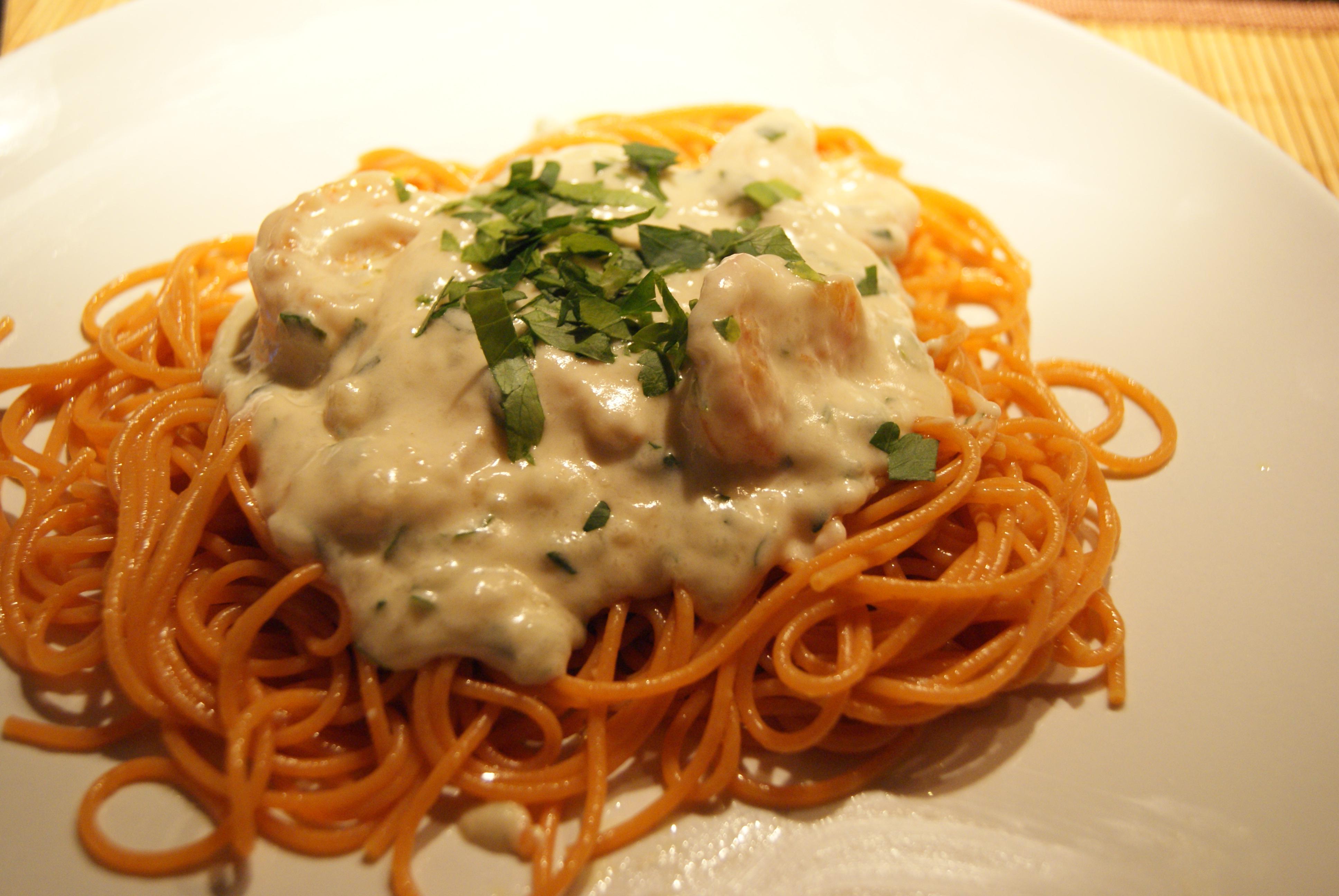 Spaghetti van quinoa met garnalen