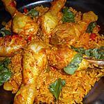 Kipdrumsteaks met pilav-rijst en paprika's