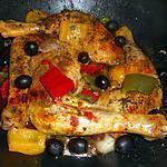 Gebakken kippendijen met paprika's