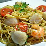Spaghetti met St-Jacobs mosselen en garnalen