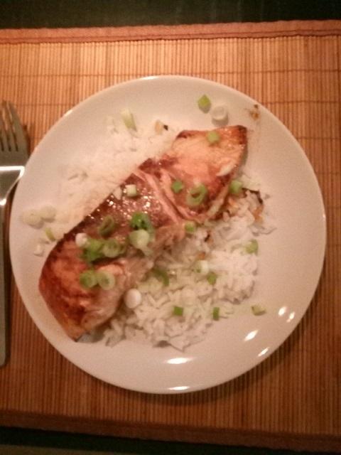 Zalm teriyaki met witte rijst