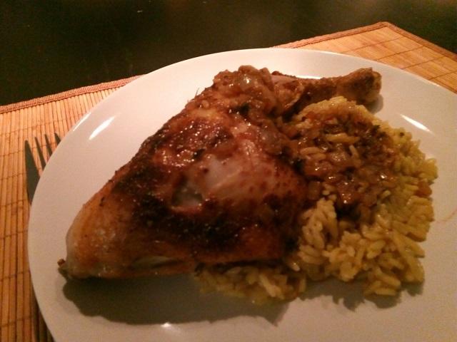 Kippenbout met pilav rijst