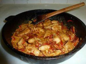 Kip, chorizo en paprika