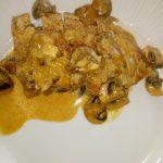 Varkenshaas met champignon paprika-roomsaus