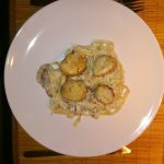 Tagliatelle met St. Jacobsmosselen en champignons
