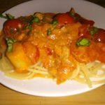 Kipvleugels in balsamicoazijn met spaghetti